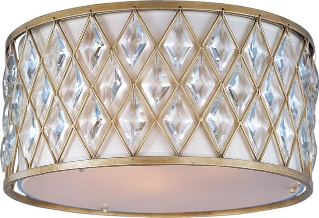 Maxim Diamond Three Light Golden Silver Drum Shade Flush Mount.