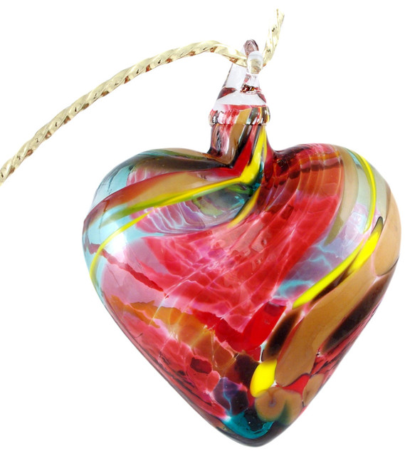 Glass Eye Studio Hand Blown Glass Heart Ornament, Magenta