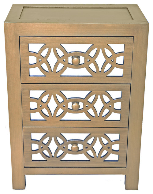 25.75 Mini Glam Slam Mirrored 3-Drawer Cabinet, Gold