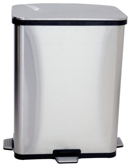 1fbe66750f1 13 Gallon Stainless Steel Step-Sensor Can - Contemporary - Wastebaskets -  by VirVentures