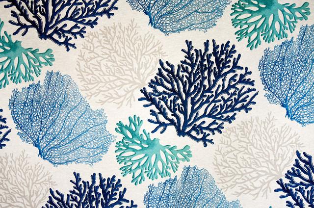 Blue Coral Fabric Aqua Ocean