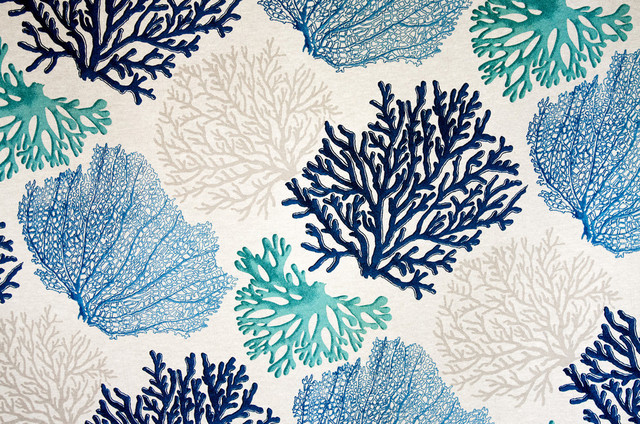 Coral Pattern Fabric blue coral fabric aqua ocean - beach style - drapery fabric