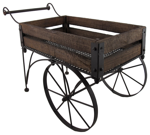 Rustic Wood And Metal Indoor/Outdoor 2 Wheeled Wagon Cart/Planter  Rustic Outdoor