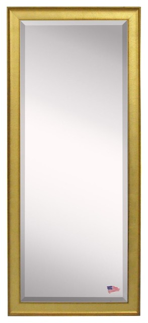 "American Made Rayne Vintage Gold Extra Tall Floor Mirror, 28.5""x1.25""x69""."