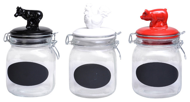 Snap Glass Canister With Animal Ceramic Tops Set - Farmhouse ...
