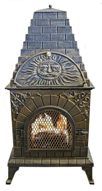 Aztec Allure Cast Iron Chiminea Pizza Oven Traditional