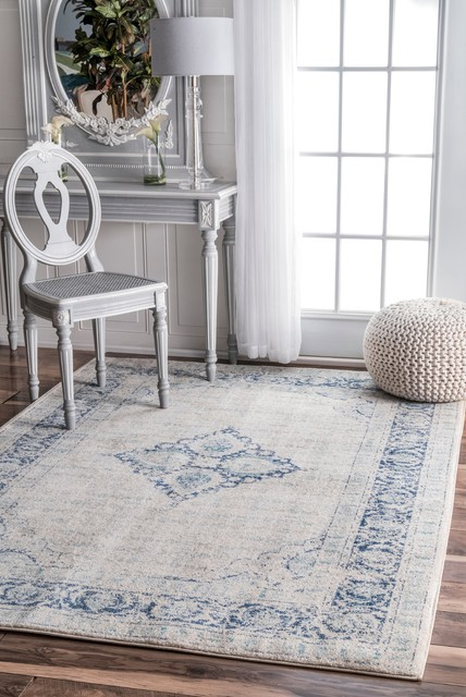 Nuloom Traditional Centerpiece Area Rug, Light Blue, 8&x27;x10&x27;.