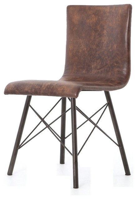 Diaw Distressed Brown Leather Dining Chairs Set Of 2