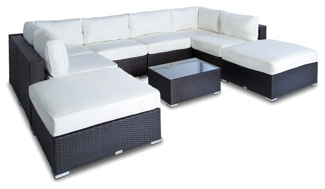 Outdoor Sofa Sectional Wicker 9-Piece Resin Couch Set