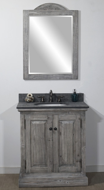 Rustic Sink Vanity In Grey Driftwood With Polished Textured Surface Granite Top Farmhouse Bathroom Vanities And Sink Consoles By Infurniture Inc Houzz