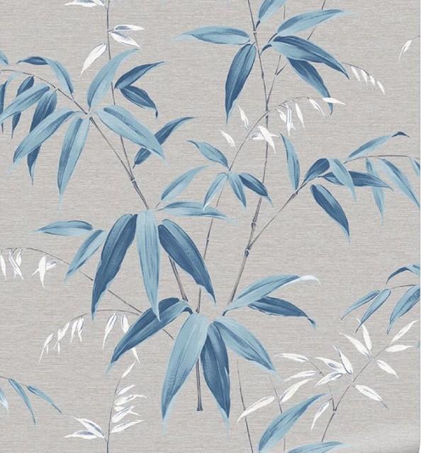 Grey Oriental Bamboo Sky Floral Wallpaper, Roll
