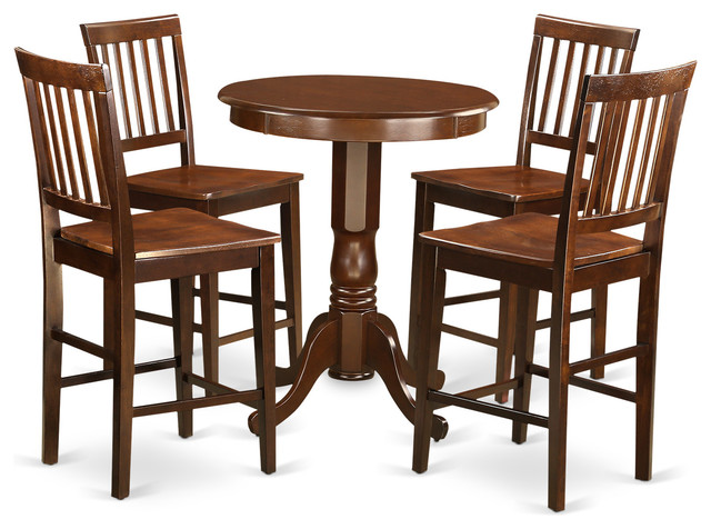 Mika Counter Height Dining Table Set Mahogany 5 Pieces