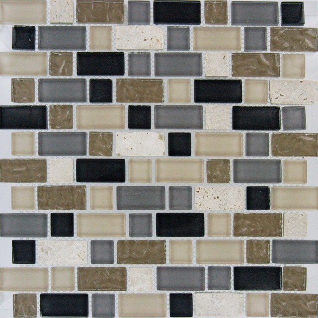 Stonecrest Interlocking Mosaic Mixed Tile Contemporary Mosaic