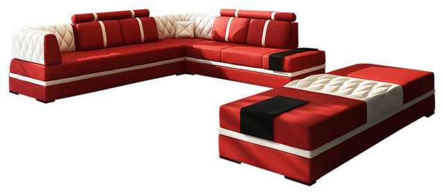 Viviana 4 Piece Leather Sectional Sofa, Red And White