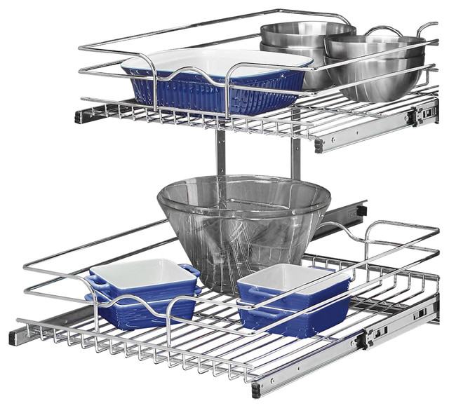 "Base Cabinet Pull-Out Chrome Two-Tier Wire Basket, 18""x22""."