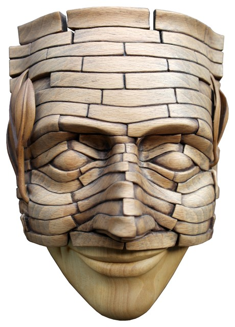 Mask Modern Wood Carved Bust Sculpture Art Home Decor Contemporary Sculptures