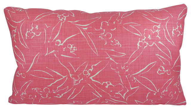 Hot Pink Modern Lumbar Pillow Solid Pink Back With Feather/down Insert.