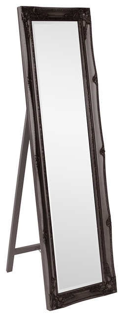 Queen Ann Standing Mirror, Black.