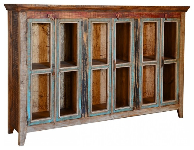 Rustic Cabana 3 Glass Door Buffet Cabinet Farmhouse Buffets And