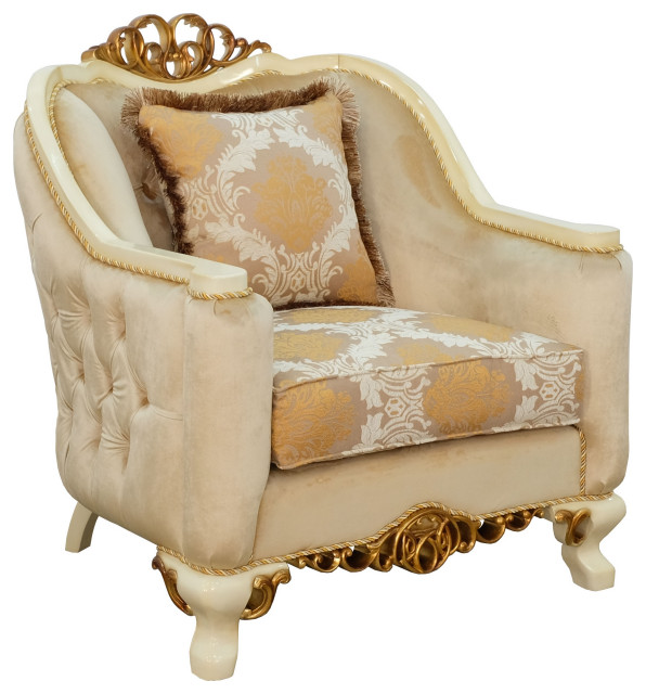 European Furniture Angelica Armchair Damask Brown Fabric Victorian Armchairs And Accent Chairs By Usa Furniture Warehouse