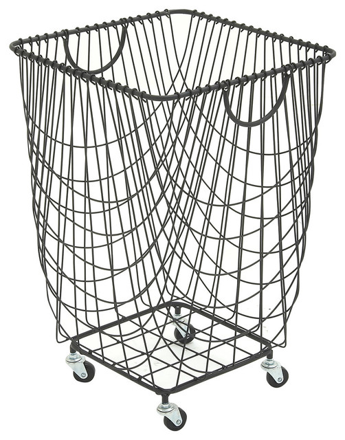 Metal Rolling Hamper Contemporary Hampers By