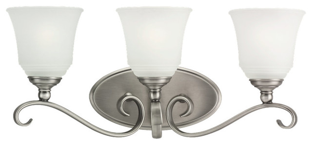 3-Light Parkview Wall Sconce, Antique Brushed Nickel And Satin Etched.