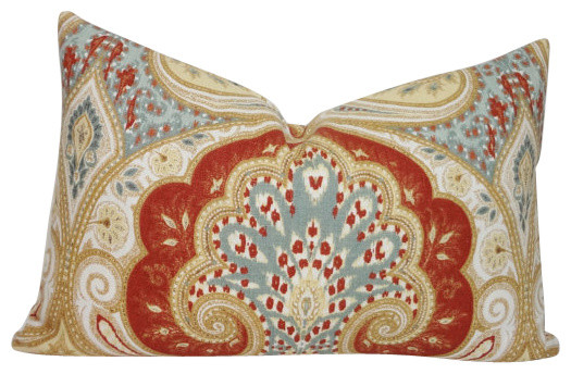 Latika Kravet Circus Rust Blue And Tan Linen Lumbar Pillow, Paisley Print.