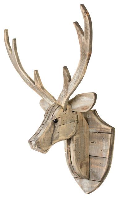Wooden Moose Head Wall Decoration from st.hzcdn.com