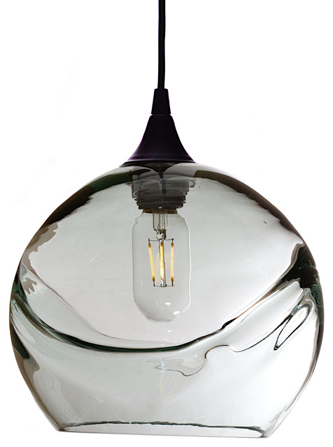 Swell Pendant Form No. 768, Clear Glass Shade, Black Hardware, 4 Watt