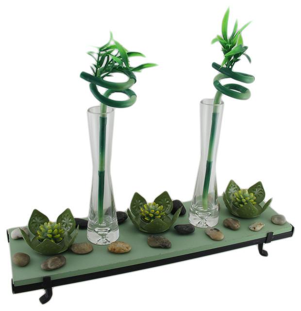 3 Lotus Flower Tealight Holder 2 Lucky Bamboo Candle Garden Set