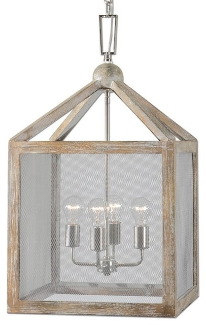 Uttermost 4 light wood lantern pendant screen mesh coastal 4 light wood lantern pendant screen mesh coastal chandelier farmhouse chandeliers mozeypictures Image collections