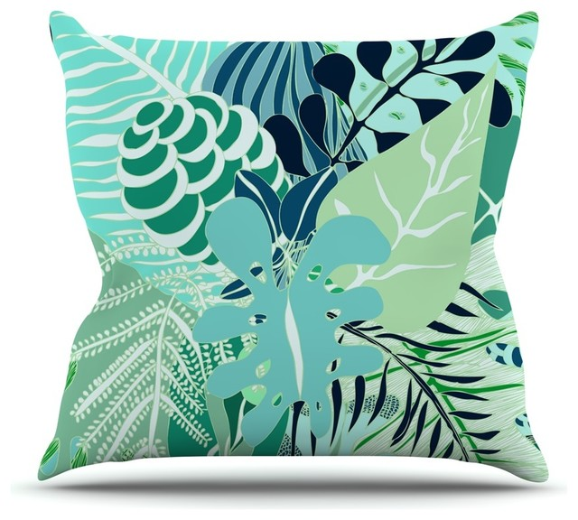 Anchobee Quot Giungla Quot Green Floral Throw Pillow Tropical