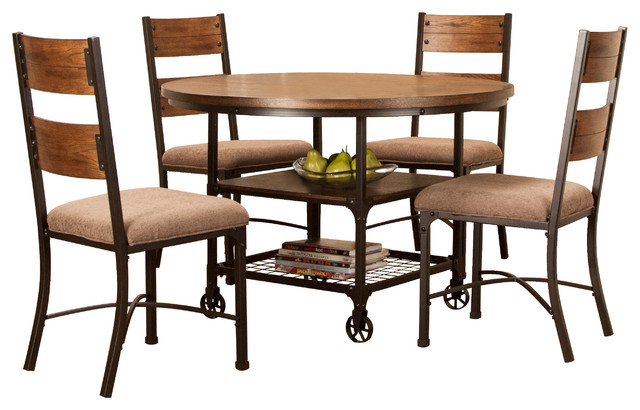Rustic Elm Industrial 5 Piece Dining Table Set