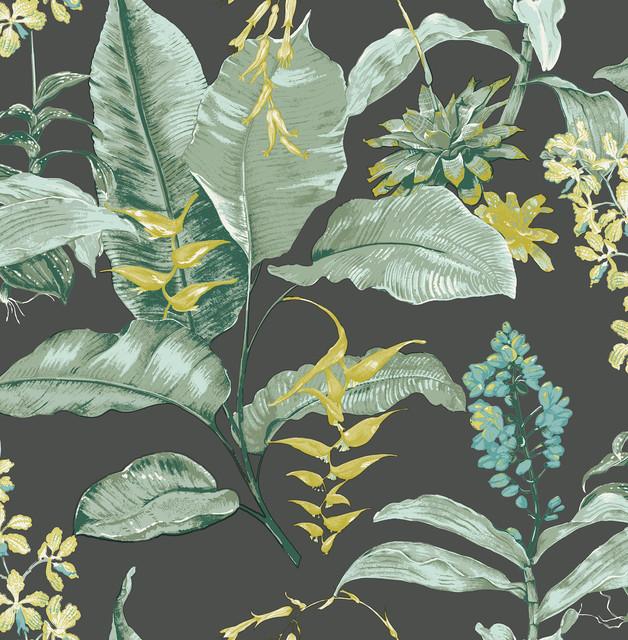 Maui Black Botanical Wallpaper Bolt.
