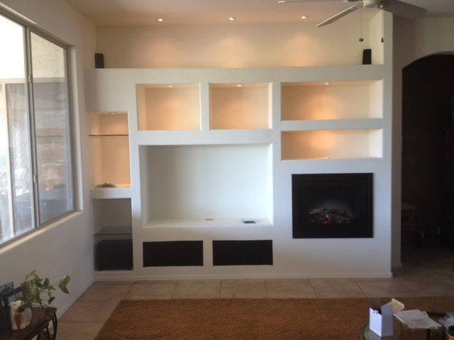 Phoenix custom media walls traditional family room for Drywall designs living room