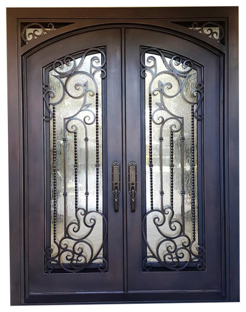 "Monticello Iron And Glass Front Doors, Right Inswing, 72""x96""."