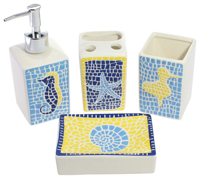 Mediterranean 4 Piece Bathroom Accessory Set Ceramic Sea Animal Tiles