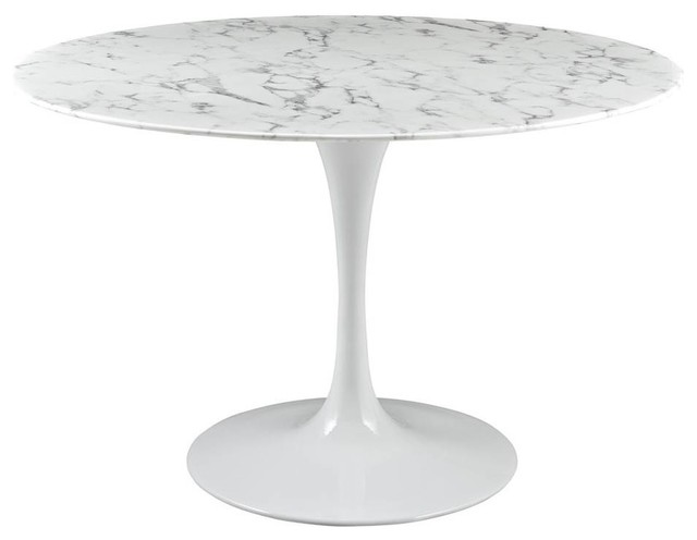 Modway Lippa 47 Artificial Marble Dining Table, White by Modway