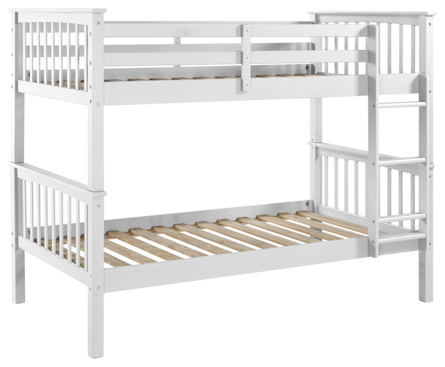 Twin-Over-Twin Solid Wood Mission Design Bunk Bed, White.