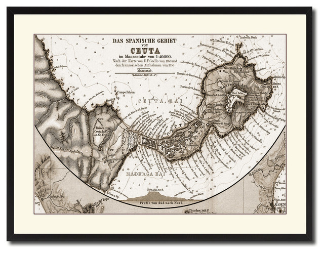 a18050ac1372 Ceuta, Morocco Old Sepia Map Print On Canvas With Black Custom Frame, 28