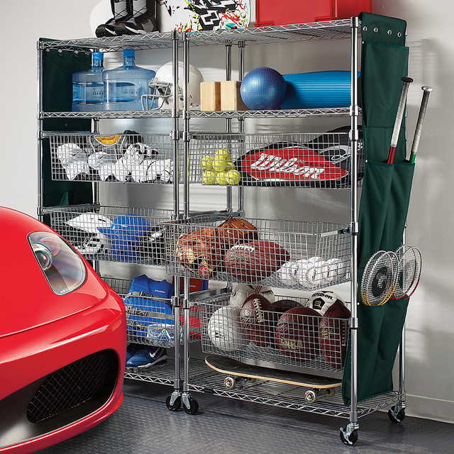 Metallic-finished Sports Shelving with Pull-out Bins