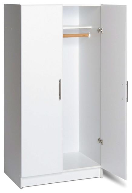 White 2-Door Wardrobe Cabinet With Hanging Rail And Storage Shelf.