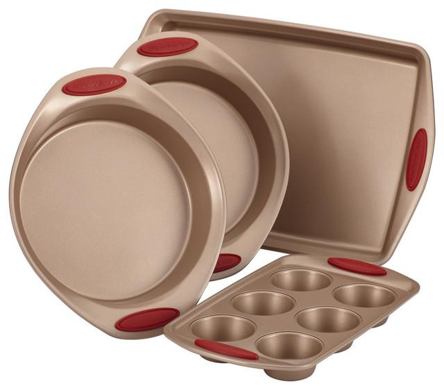 Cucina Nonstick Bakeware 4-Piece Set, Latte Brown, Cranberry Red Handle Grips