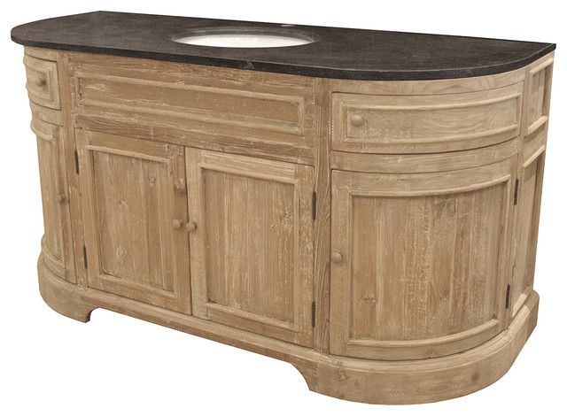 French Country Bathroom Vanities ginette french country reclaimed pine wash curved single bath