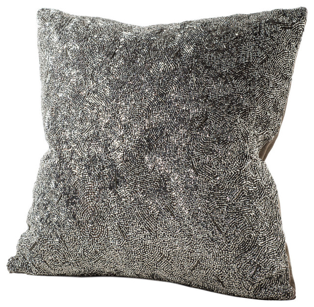 Decorative Down Pillows : Gatsby Silver Beaded Feather & Down Pillow - Decorative Pillows - by Chauran