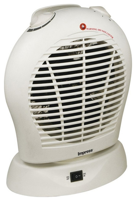 Oscillating Fan Heater With Thermostat White.
