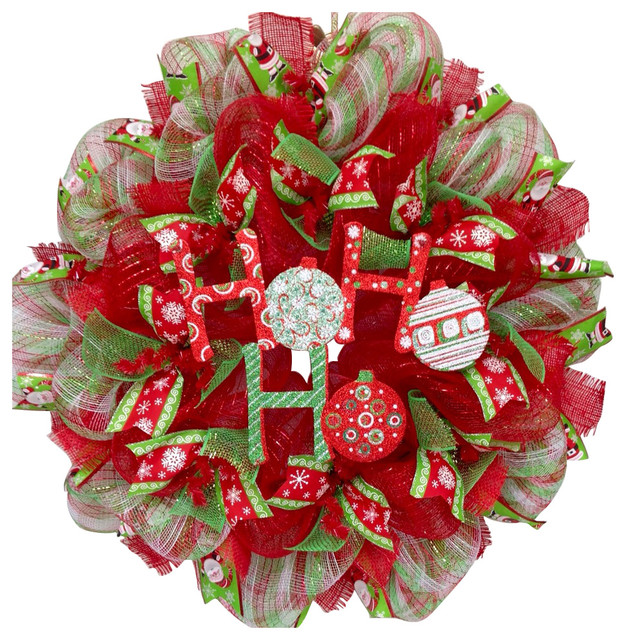 Glittering Ho Ho Ho Ornament Ribbon Christmas Wreath Handmade Deco Mesh - Contemporary - Wreaths And Garlands - by What A Mesh By Diana