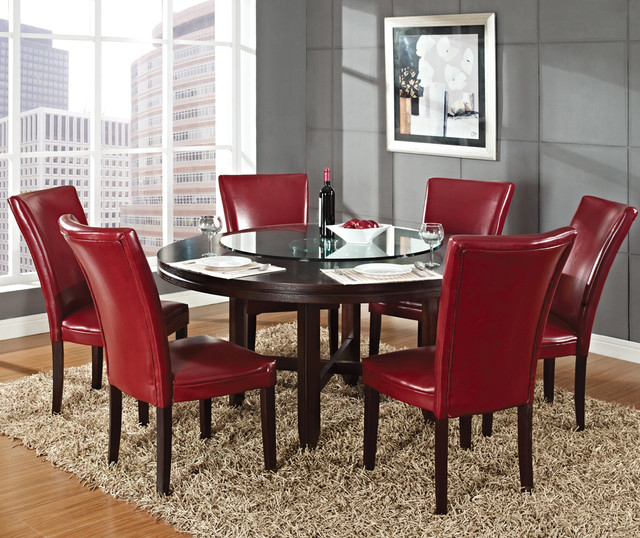Steve Silver Hartford 7 Piece Round Dining Room Set W Red Chairs In Dark Oak