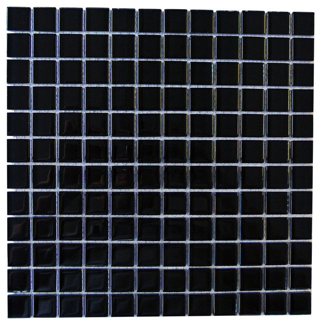 Black Subway Tile shop houzz | gbm manufacturing black galaxy glass mosaic subway