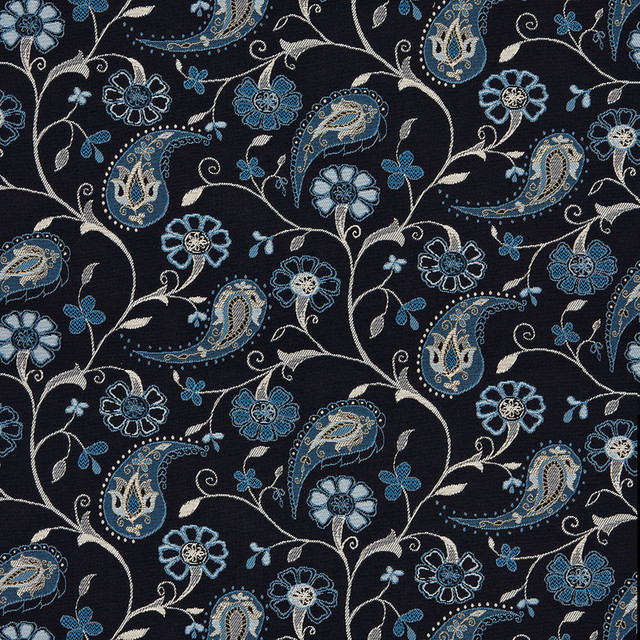 Navy Blue Beige Paisley Floral Indoor Outdoor Upholstery Fabric By The Yard